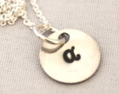 hand stamped personalized handstamped initial disc charm necklace TINY ...