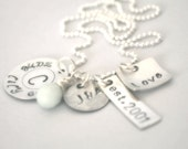 hand stamped personalized large family charm style handstamped sterling silver name necklace...