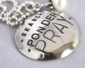 hand stamped personalized sterling silver necklace handstamped search ponder PRAY...