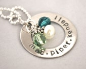 hand stamped personalized CAMERON sterling silver washer personalized handstamped necklace...