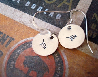 hand stamped handstamped birds on sterling silver discs earrings