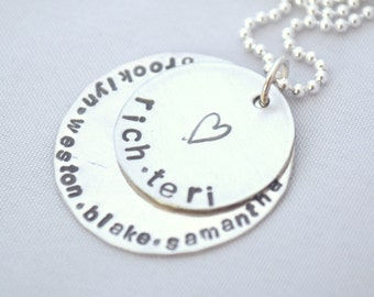 hand stamped personalized sterling silver handstamped heart layer necklace TERI...
