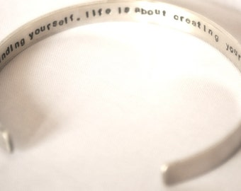hand stamped personalized handstamped INSIDE sterling silver bracelet cuff...