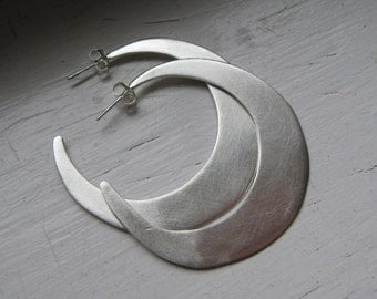 Large Sterling Silver Freestyle Hoops