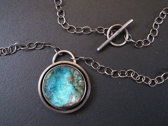 Raw Chrysocolla and Sterling Silver Necklace