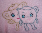 Hand Embroidered Baby Bib with Retro Dancing Creamer  and Sugar Bowl