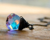 Galaxy- Swarovski Crystal briolette oxidized sterling silver necklace Seven jewelry