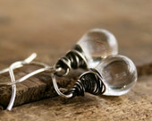 Glass drops, oxidized sterling silver fashion earrings