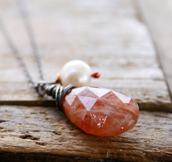 ChristmasinJuly Sunstone and pearl on oxidized sterling silver necklace
