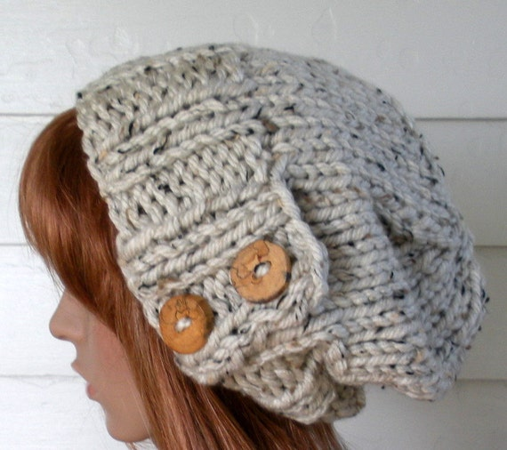 Knitting Patterns For Winter Hats : SALE Knit Hat Womens knit Hat Winter Hat Slouchy Beanie