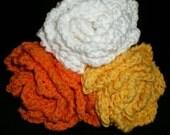 Sunburst Bright Cotton Knit Dishcloth 3 pack . . . Orange, Yellow and White