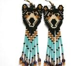 Black Bear Earrings - brick stitch, cheyenne stitch, beadwoven