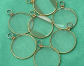 7 Vintage gold  Round Loop top Optical lenses - Steampunk art or Jewellery.