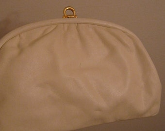 Vintage Ivory Leather clutch, Jacobson's Clutch,Made in Italy