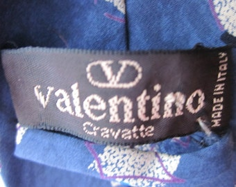 Valentino Cravatte Tie, Italy, blue with geometric designs, 80s tie