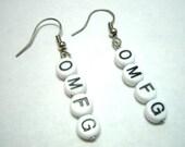 OMFG Alphabet Bead Earrings Gamer Girl Geeks