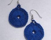 Crocheted Sunburst Medallion Earrings--Royal