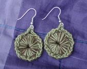 Crocheted Sunburst Medallion Earrings--Earth