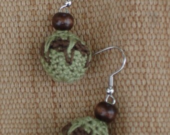 Crocheted Bead Earrings-Earth