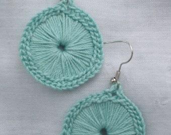 Crocheted Sunburst Medallion Earrings--Large Aqua
