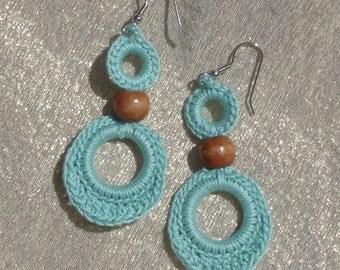 Crocheted Double Loop Earrings--Aqua