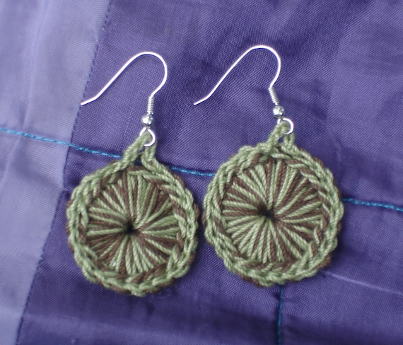 Crocheted Sunburst Medallion Earrings--Earth