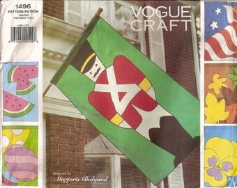Vogue 1496, Seasonal Flags, Six Decorative Flags, Easter Flag, Watermelon, US Flag, Sewing Pattern, Home Decor, Craft Pattern, Uncut Pattern