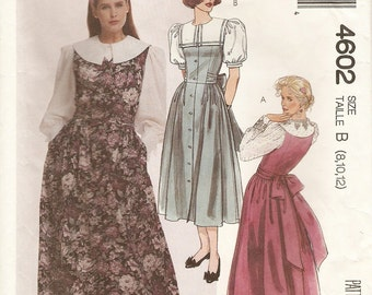 McCalls 4602 Sewing Pattern, Misses Jumper Dress, Blouse, Vintage Clothing, Sizes 8 10 12, Sewing Supplies, Modest Dress, Bow, Feminine