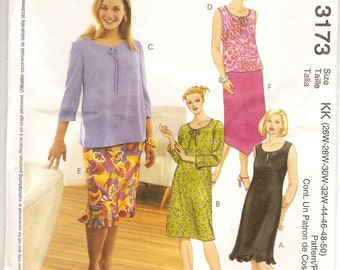 McCalls 3173 Sewing Pattern, Womens Dresses, Tops, Skirts, Womens Clothing,Sizes 26w 28w 30w 32w 44 46 48 50,Uncut Pattern, Sewing Supplies