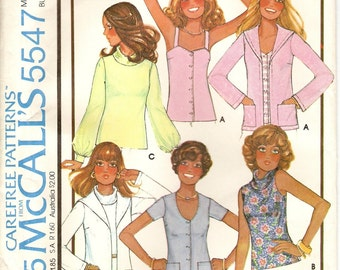 McCalls 5547, Sewing Pattern, Misses Cardigan, Set of Tops, Jacket, Vintage Clothing, Vintage 1977, Size 16, Uncut Pattern, Sewing Supplies