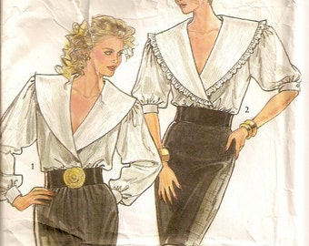 New Look 6080, Misses Blouses, Wide Collar Blouses, Ruffled Collar, Long Half Sleeves, Sizes 8 10 12 14 16 18,Vintage Blouse,Sewing Supplies