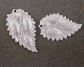 Leaf Charms (2), Rhodium Plated Pewter