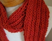 Malabrigo hand knit scarf, in brick red jewel tone cherry bomb, EXTRA LONG 7 feet in length, I Love You Valentine