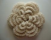 Throw Pillow Bling, jumbo sized 3-D Wool Blend Flower adornment in cream off white
