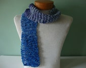 Faded Blue Jeans hand knit skinny scarf, denim rainy day blues handspun wool March Aquamarine Birthstone