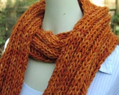 Dude Scarf man scarf boyfriend scarf hand knit scarf wool scarf long scarf orange scarf pumpkin orange for him for dad scarves for men