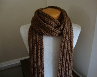 Dude Scarf man scarf boyfriend scarf hand knit scarf wool scarf long scarf brown scarf chocolate brown for him for dad scarves for men