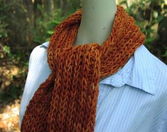 Dude Scarf man scarf boyfriend scarf hand knit scarf wool scarf long scarf orange scarf pumpkin orange for him for dad scarves for men