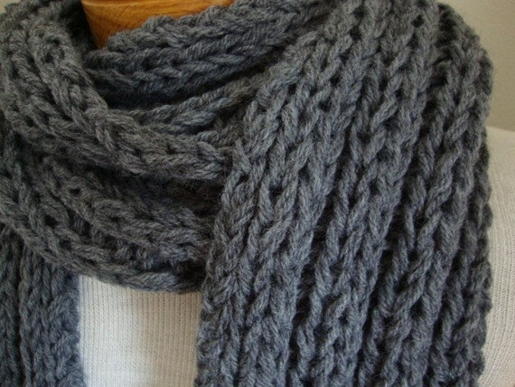 The Dude Scarf, in dark thunder cloud gray, for him for dad, extra length super long, father's day gift