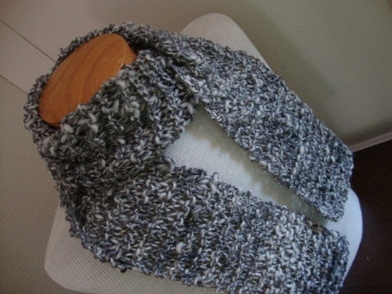 Silver glow hand knit scarf, black silver and white gray, dark stormy color in handspun wool, father's day gift