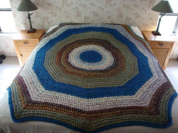 Crochet Afghan queen size afghan bedspread blue afghan large afghan ...