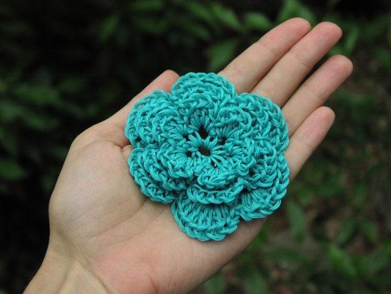 3-D nylon Flower Applique, aquamarine turquoise blue, vegan flower with no animal fibers
