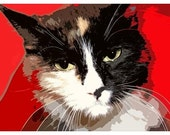 "Pop Art Cats and Dogs ""Are You On Your Way""  8x10 Fine Art Print of Shelter Cat"