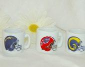 Three Miniature Ceramic Football Coffee Mugs Collectibles Souvenir Toy Sport Memorabilia NFL Bills Rams Chargers