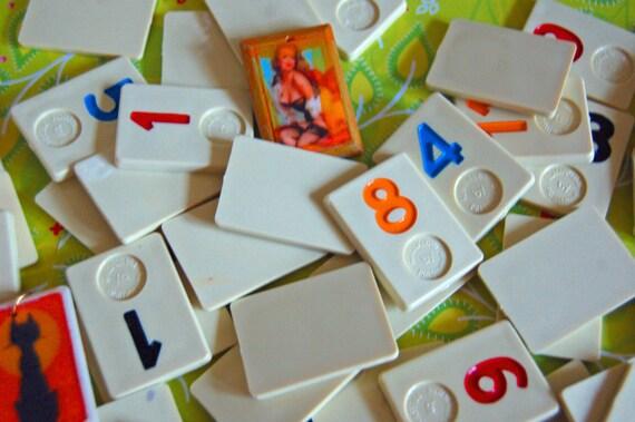Dozen Vintage Rummy Cube Game Pieces Supplies Collectibles Jewelry Game Toy Miniatures Antique Charm Assemblage Altered Art Craft Destash