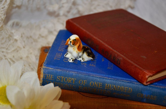 Adorable Vintage Miniature Porcelain Basset Hound Dog Figurine To Add To Your Collection Give As A Gift Or Use In Assemblage Arts
