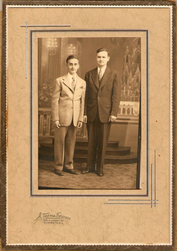 Antique Handsome Father Son Black White Photograph Collectibles Supplies Vintage Picture Ephemera Assemblage Altered Art Crafts Home Decor