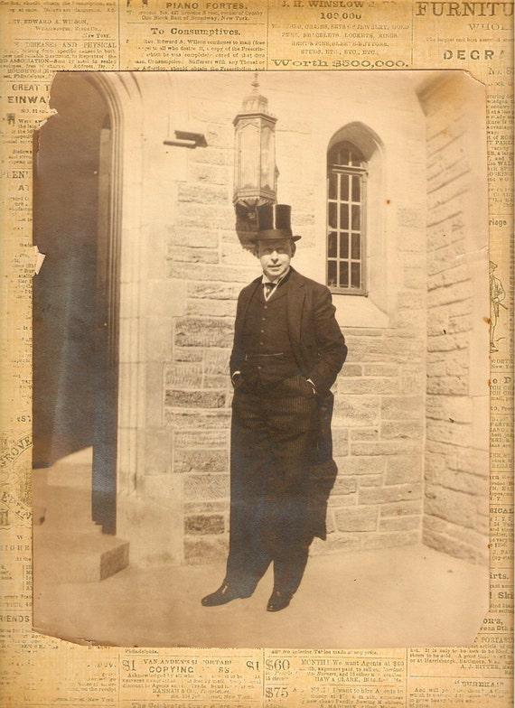Amazing Anique Man In Top Hat And Suit  Photograph Sepia Vintage Supplies Steampunk Assemblage Art Collectibles Ephemera Tuxedo Home Decor