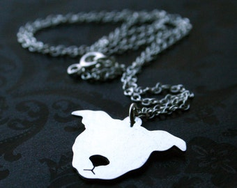 Sterling PIttbull face Necklace