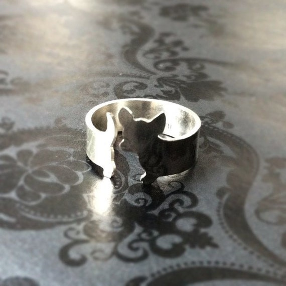 Custom Argentium Silver Chihuahua Dog Ring